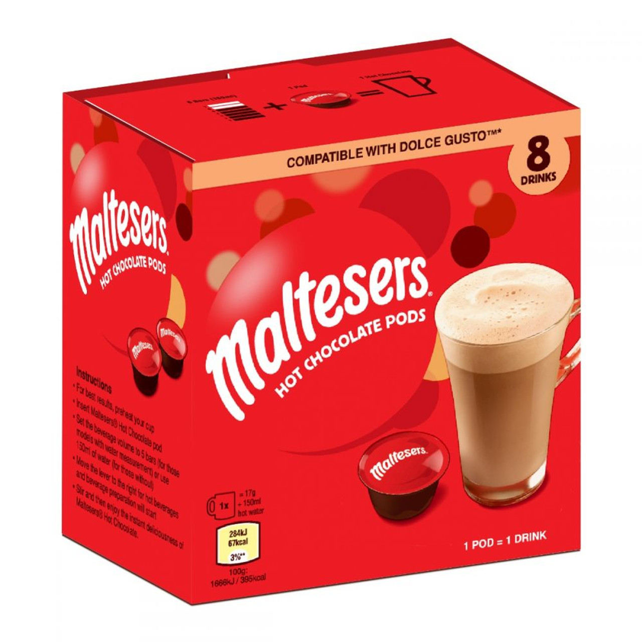 Maltesers 8 Hot Chocolate Pods Dolce Gusto Compatible 8x17g