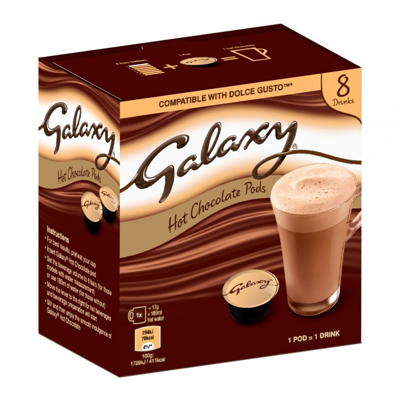 Galaxy 8 Hot Chocolate Pods Dolce Gusto Compatible 8x17g