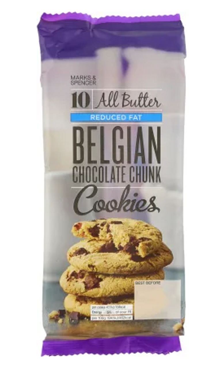 Marks And Spencer Reduced Fat All Butter Belgian Chocolate Chunk Cookies 225g