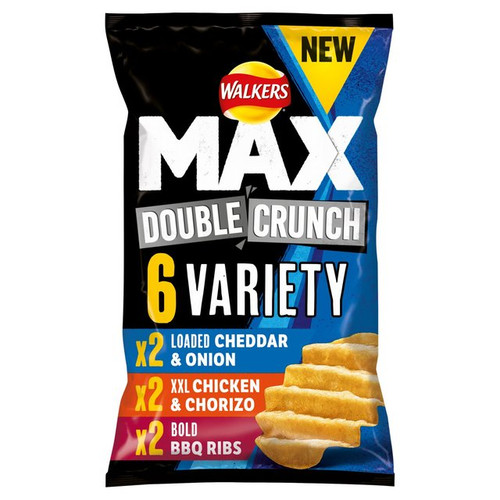 Walkers Max Double Crunch Variety Crisps 27g x 6 per pack