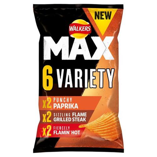 Walkers Max Variety Crisps 27g x 6 per pack