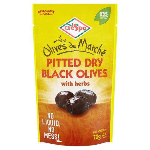 Crespo Dry Black Olives With Herbs 70g