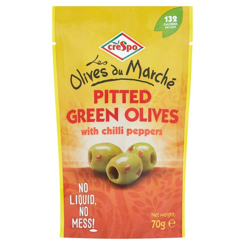 Crespo Pitted Green Olives with Chilli 70g