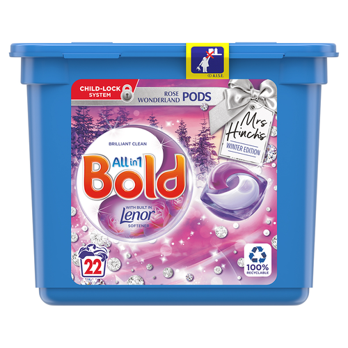 Mrs Hinch's Bold All in 1 Rose Wonderland Pods with Built in Lenor Winter Edition 22 Washes