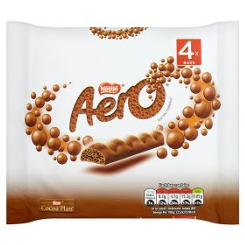 Aero Milk Chocolate Bubbly Bar 4 Pack 4x27g