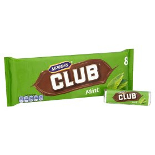 Mcvities Club Mint Chocolate Biscuit Bar 8 Pack 8x22g