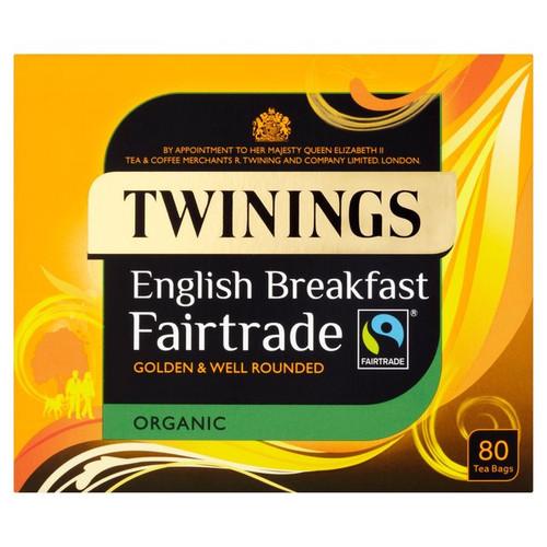 Twinings Organic Fairtrade Breakfast Tea Bags 80 per pack