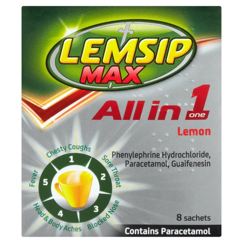Lemsip Max All in One Lemon Sachets 8 per pack