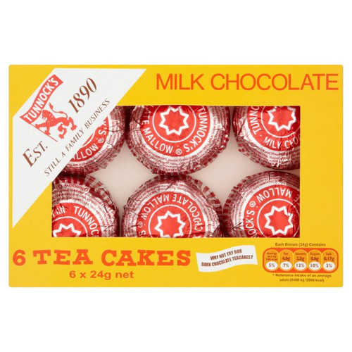 Tunnocks Milk Chocolate Teacakes 6 x 24g