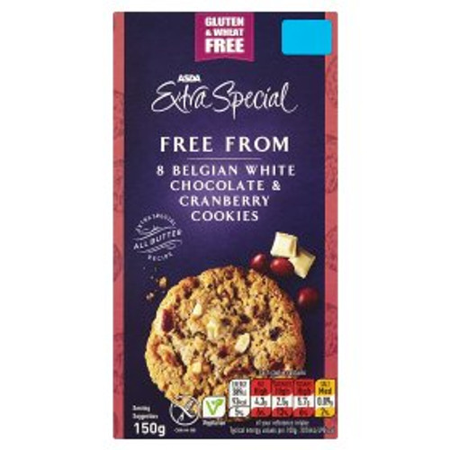 ASDA Extra Special Free From 8 Belgian White Chocolate & Cranberry Cookies 150g