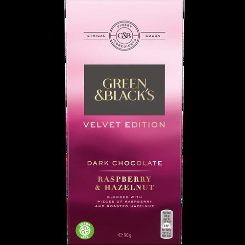 Green & Black's Dark Raspberry & Hazelnut Chocolate Bar 90g