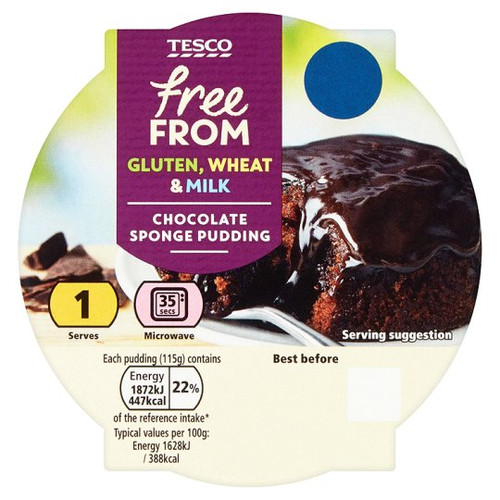 Tesco Free From Chocolate Sponge 115G