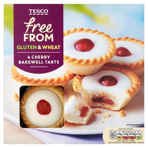 Tesco Free From Cherry Bakewell Tarts 4 Pack