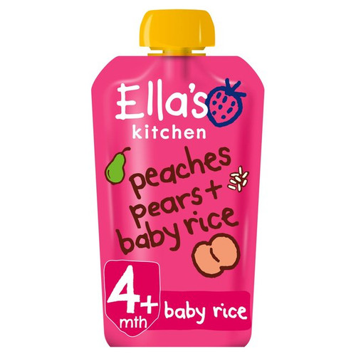 Ella's Kitchen 4 Mths+ Organic Peaches, Pears & Baby Rice 120g