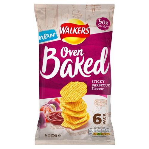 Walkers Oven Baked BBQ Crisps 6 x 25g