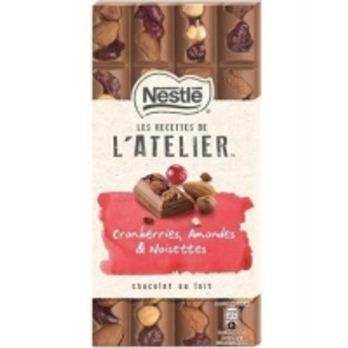 Nestlé Les Recettes de l'Atelier Cranberries, Amandes, Noisettes, Lait 195g