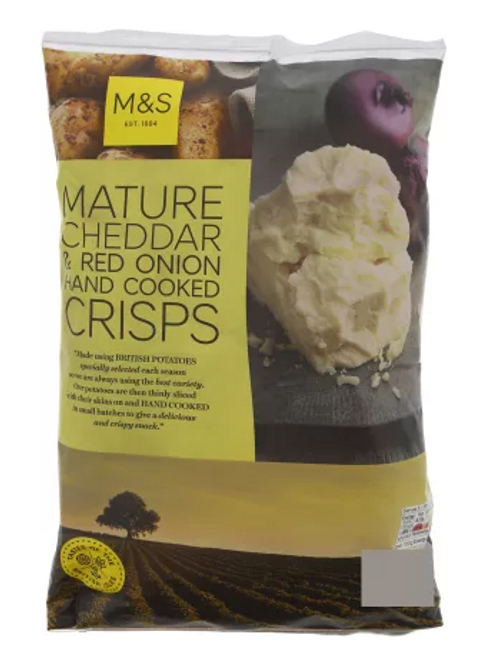 Marks and Spencer Mature Cheddar & Red Onion Hand Cooked Crisps 150g