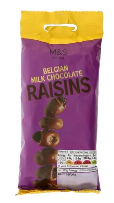 Marks and Spencer Belgian Milk Chocolate Coated Raisins 125g