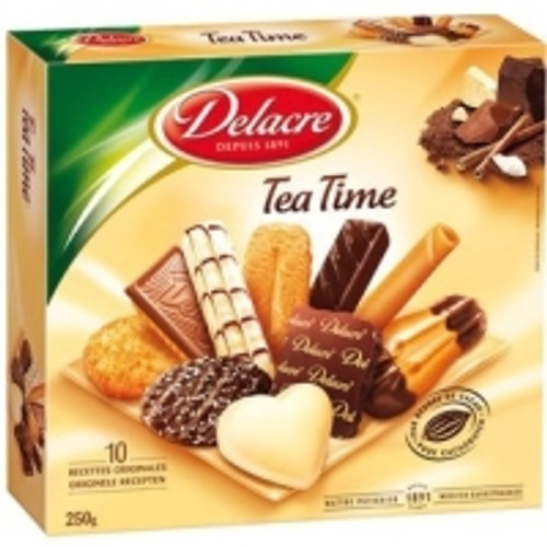 Delacre Tea Time Assortment Of Biscuits Natural And With Chocolate 250g