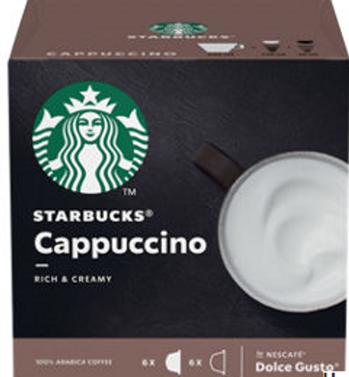 Starbucks Cappuccino Coffee Pods by Nescafe Dolce Gusto 12 Capsules
