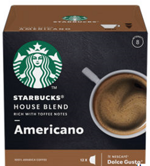 Starbucks Americano House Blend Medium Roast Coffee Pods by Nescafe Dolce Gusto 12 Capsules