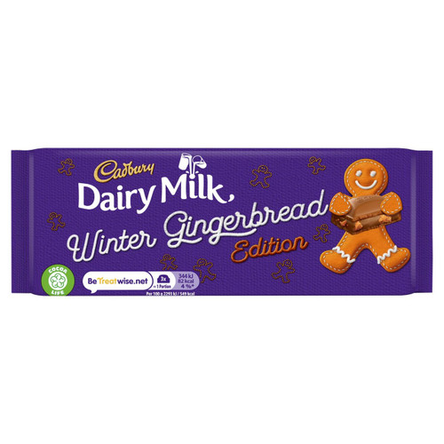 Cadbury Dairy Milk Gingerbread Christmas Chocolate Bar 120g