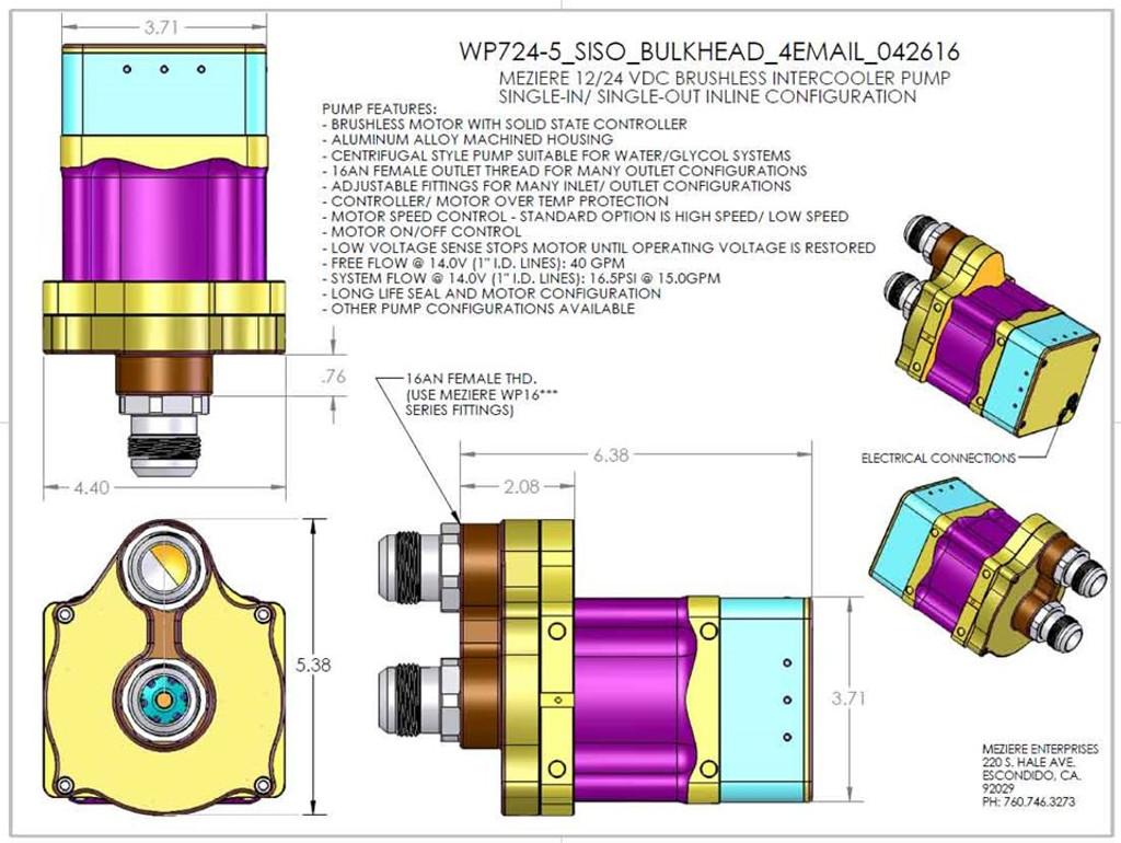 meziere brushless intercooler pump, remote bulkhead