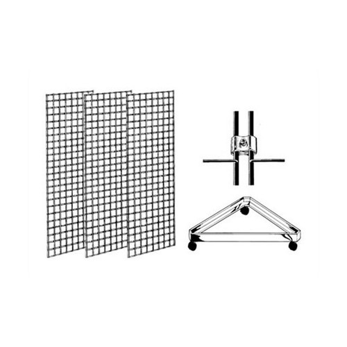 Gridwall Floor Rolling Display With Triangle Base
