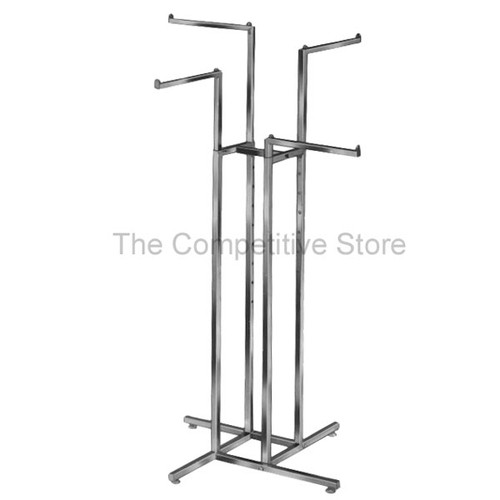 "4-Way Clothing Rack Straight Arms - Adjustable - Made Of 1"" Chrome Square Tubing"