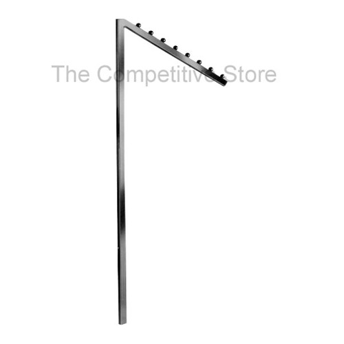 "18"" Square Tubing Slant Arm With 8 Stops - Great Add-On For Racks - Chrome"
