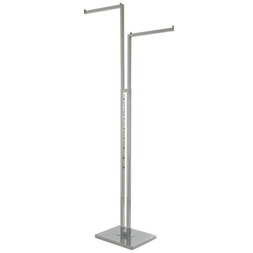 2-Way Clothing Rack Straight Arms - Adjustable Arms Made Of Square Tubing Chrome