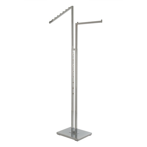 2-Way Clothing Rack 1 Slant Arm 1 Straight Arm - Made Of Square Tubing - Chrome