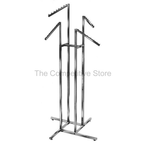 "4-Way Clothing Rack Slant Arms - Adjustable - Made Of 1"" Chrome Square Tubing"