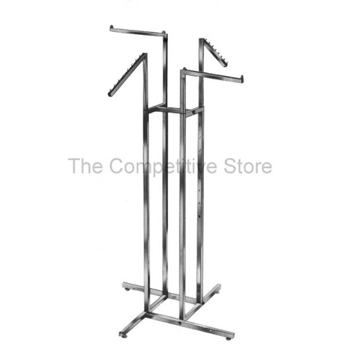 "4-Way Clothing Rack 2 Straight 2 Slant Arms - Made Of 1"" Chrome Square Tubing"