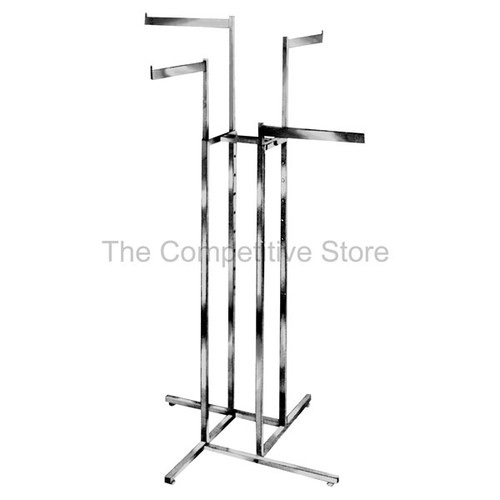 "4-Way Clothing Rack Straight Blade Arms Made Of 1/2"" X 1-1/2"" Rectangular Tubing"