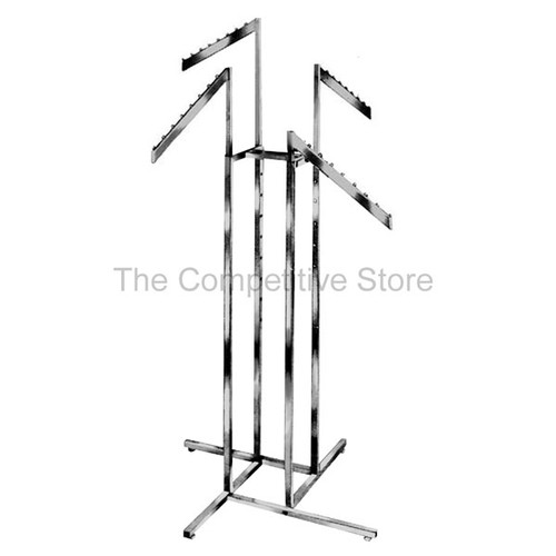 "4-Way Clothing Rack Slant Blade - Arms Made Of 1/2"" X 1-1/2"" Rectangular Tubing"