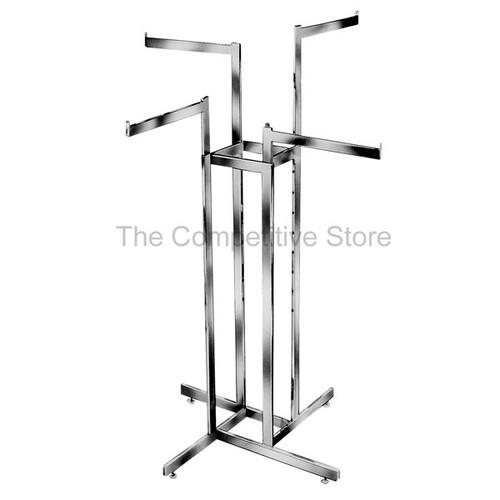 4-Way Clothing Rack Straight Arms - Adjustable Made Of Chrome Rectangular Tubing