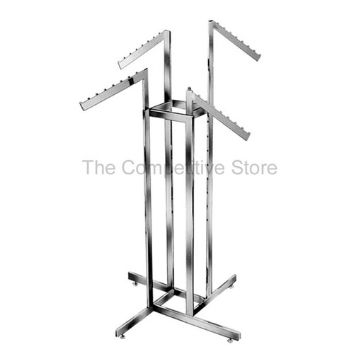 4-Way Clothing Rack Slant Arm - 8 Stops - Made Of Chrome Rectangular Tubing