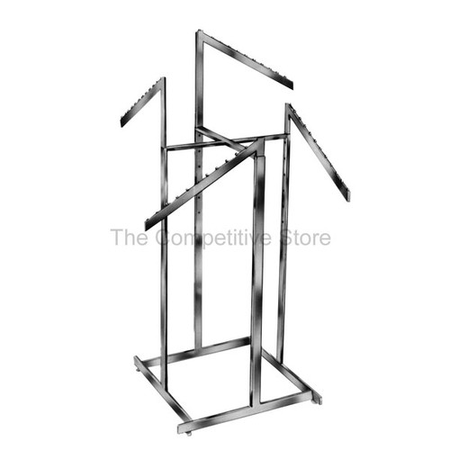4-Way Hi-Capacity Clothing Rack Slant Arms With 11 Stops - Rectangular Tubing