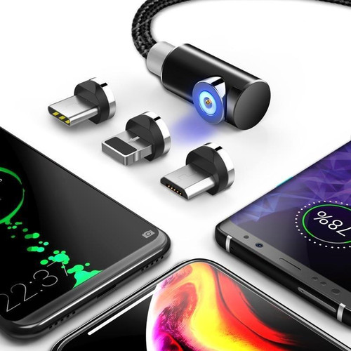3-in-1 Magnetic Cable Charger Micro-USB Type-C Lightning Cord Fast Adapter