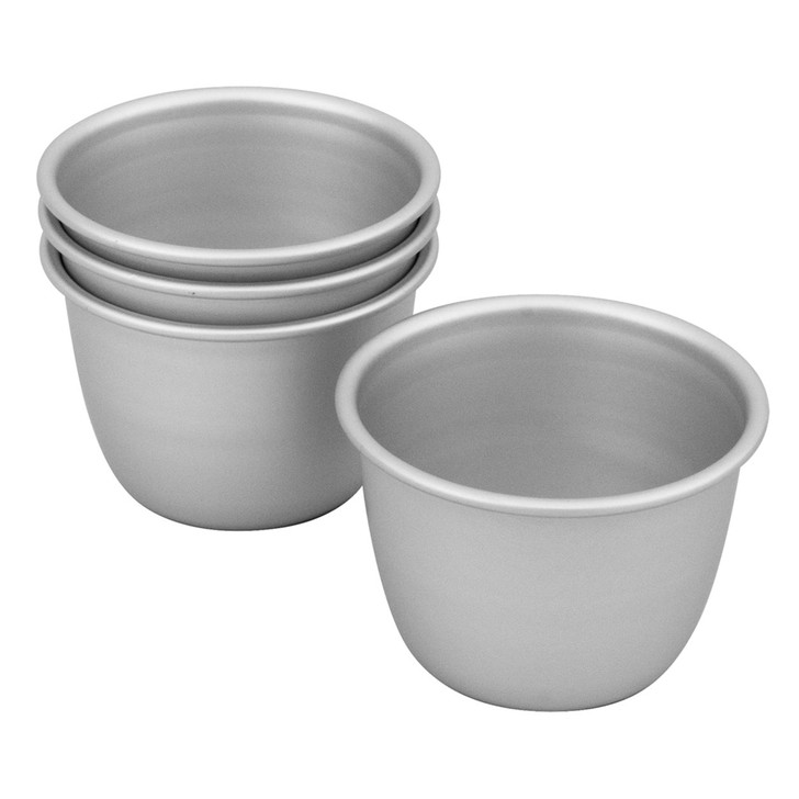 Silver Anodised  Set of 4 Pudding Pan, 7.5 x 6cm