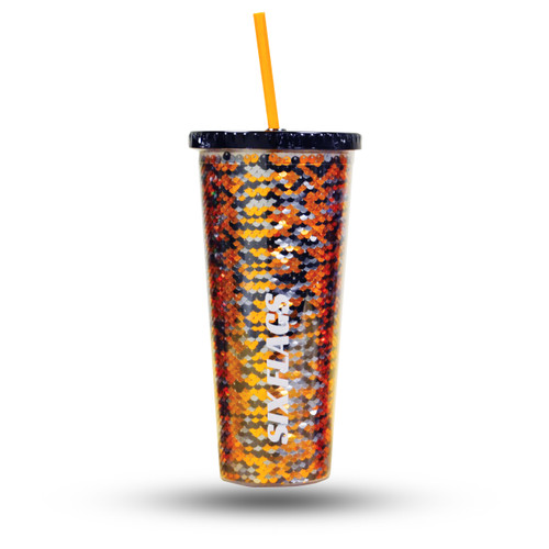 Six Flags Sequin tumbler- orange, black, and silver