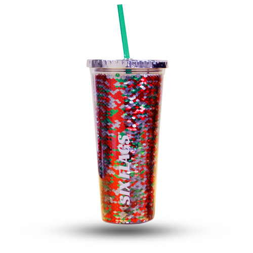 Six Flags sequin tumbler- red, green, and silver