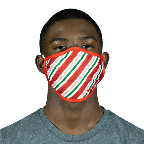SIX FLAGS HOLIDAY CANDY CANE PATTERN MASK