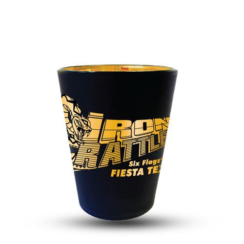 IRON RATTLER MATTE BLACK SHOT GLASS (SIX FLAGS FIESTA TEXAS)