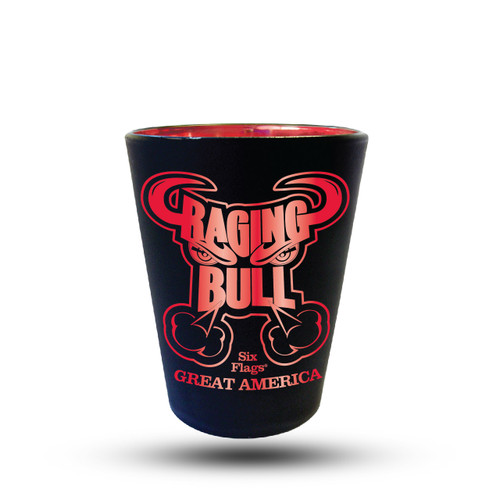 RAGING BULL MATTE BLACK SHOT GLASS (SIX FLAGS GREAT AMERICA)