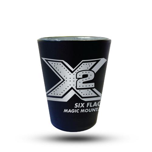 X2 MATTE BLACK SHOT GLASS (SIX FLAGS MAGIC MOUNTAIN)