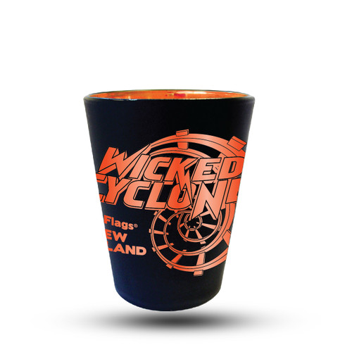 WICKED CYCLONE MATTE BLACK SHOT GLASS (SIX FLAGS NEW ENGLAND)