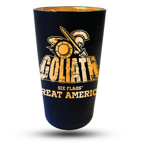 GOLIATH MATTE BLACK PINT GLASS (SIX FLAGS GREAT AMERICA)