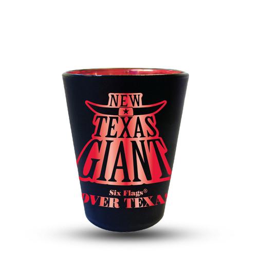 TEXAS GIANT MATTE BLACK SHOT GLASS (SIX FLAGS OVER TEXAS)